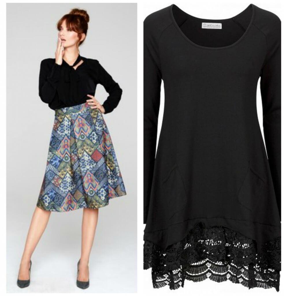 czarna tunika kwiecista spódnica