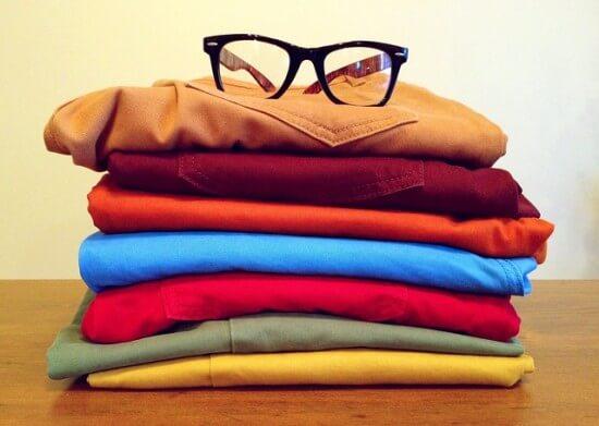 poskładane ubrania